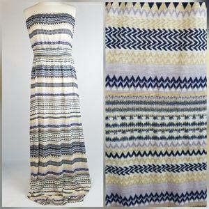 Lucky Brand Strapless Striped Print Maxi Dress XL